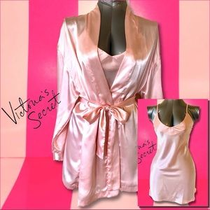 VS Pink Satin Robe and Chamise Set